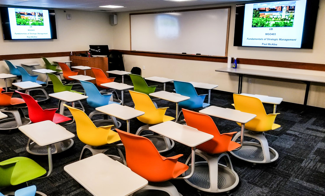 Classroom At University At Buffalo Designed With Moving Desks To Facilitate  Working In Groups.